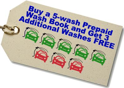 Buy a 5-wash Prepaid Wash Book and Get 3 Additional Washes FREE